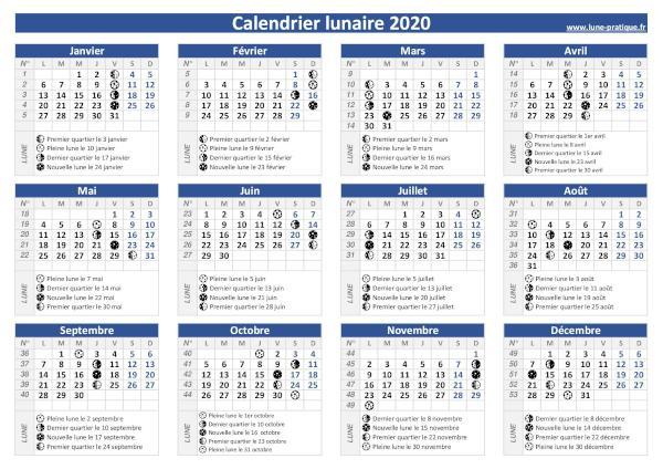 Calendrier lunaire 2020 🌙 à consulter et imprimer